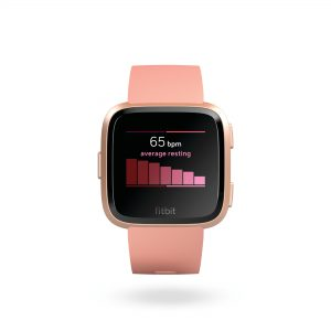 Product render of Fitbit Versa in front view showing home 7 day heart rate on screen